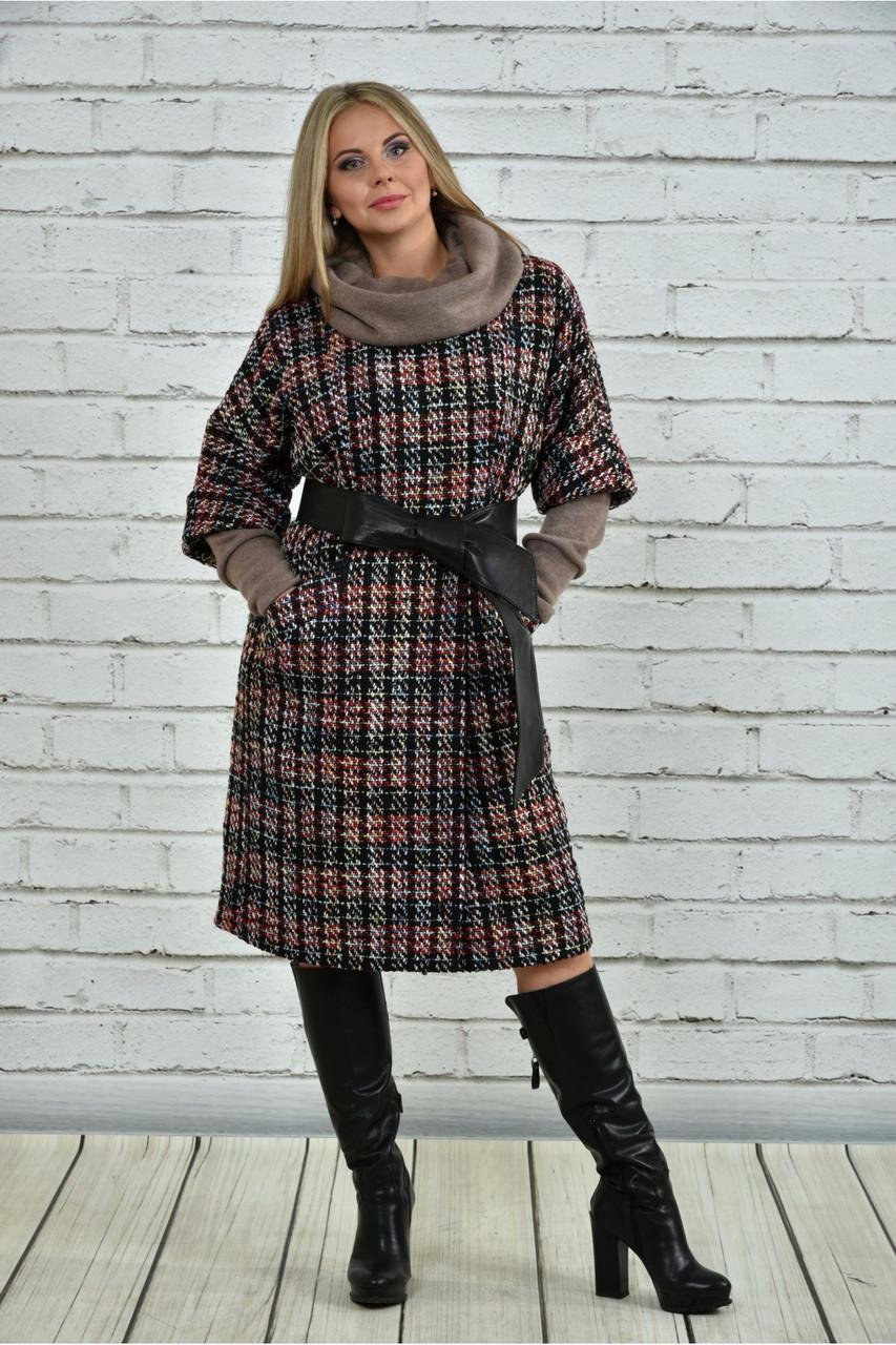 Червоне пальто жіноче демісезонне (пояс в комплекті) великого розміру 42-74. Т0357-3