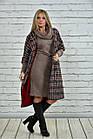 Червоне пальто жіноче демісезонне (пояс в комплекті) великого розміру 42-74. Т0357-3, фото 2