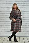 Червоне пальто жіноче демісезонне (пояс в комплекті) великого розміру 42-74. Т0357-3, фото 3