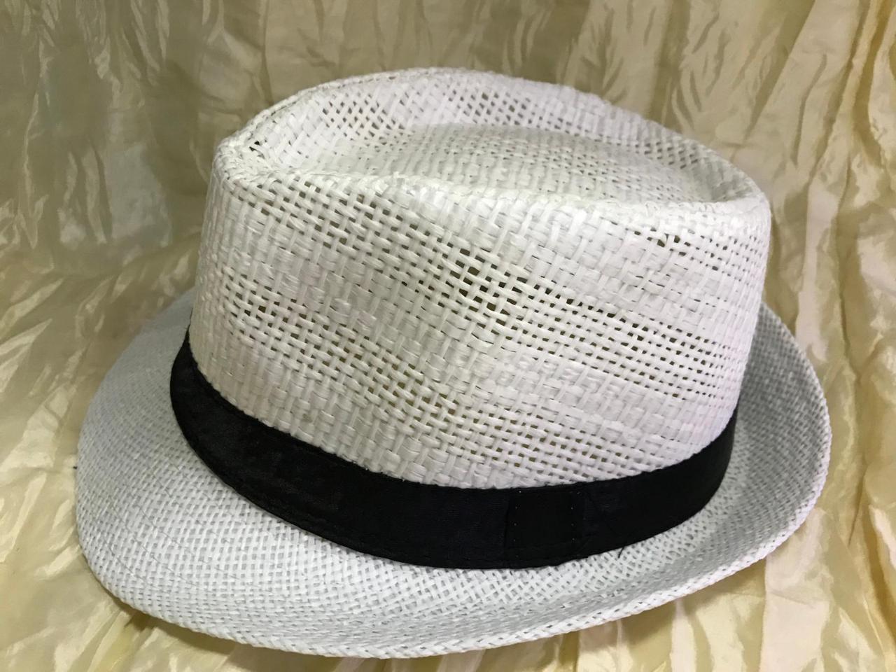 Шляпа летняя молочная с черной лентой с завернутыми сзади полями размер 55-57
