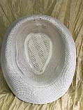 Капелюх річна молочна з чорною стрічкою з загорнутими ззаду полями розмір 55-57, фото 2