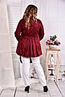 Бордовый плащ женский укороченный большого размера 42-74  0583-3, фото 4