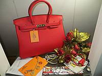 РУЧНАЯ РАБОТА. КОЖА ТОГО. Женская сумка от Hermes 35 см красная
