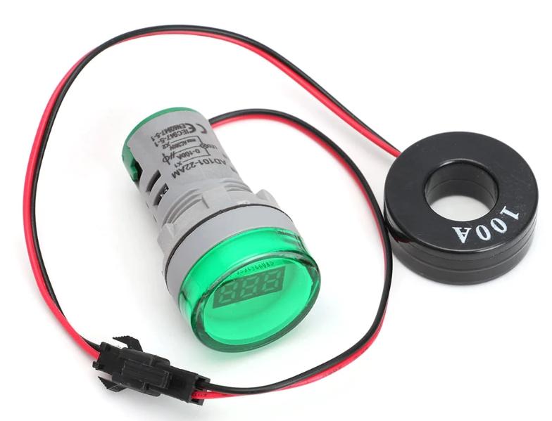 Цифровой амперметр AC 0-100A 220 В зеленый дисплей