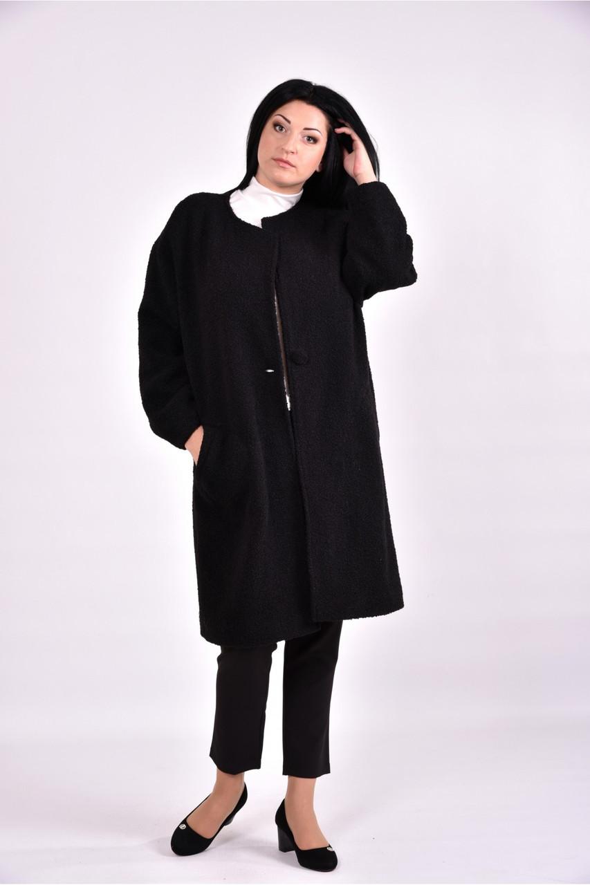 Строге чорне пальто жіноче осіннє большоо розміру 42-74. Т0602-4