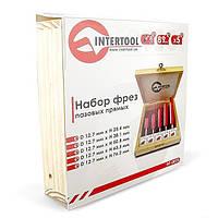 Набор фрез пазовых прямых в деревянном кейсе INTERTOOL HT-0075, фото 1
