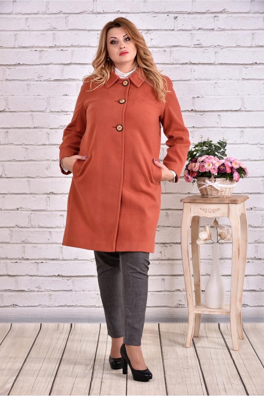 Теракотове пальто жіноче осіннє класичного крою великого розміру 42-74. Т0614-1