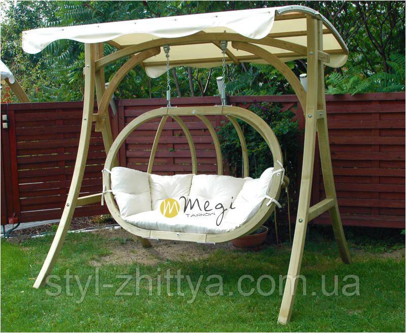 Крісло-качеля дерев'яна з подушкою і дашком