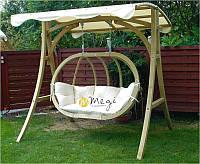 Крісло-качеля дерев'яна з подушкою і дашком, фото 1