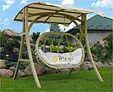 Крісло-качеля дерев'яна з подушкою і дашком, фото 2