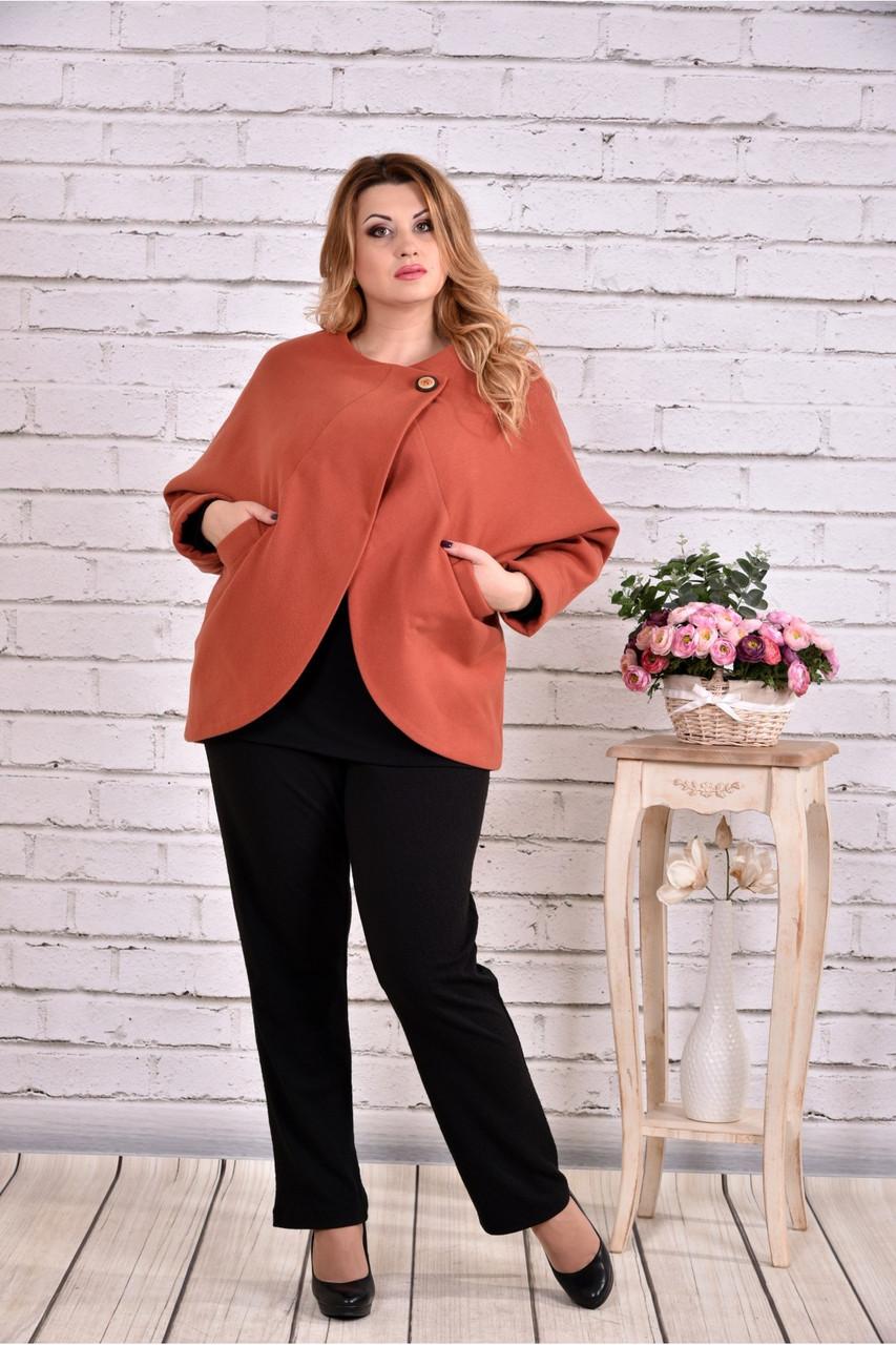 Кашемировое пальто женское укороченное терракотовое большой размер 42-74. Т0640-1
