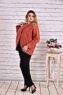 Кашемірове пальто жіноче вкорочене теракотове великий розмір 42-74. Т0640-1, фото 2