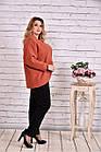 Кашемировое пальто женское укороченное терракотовое большой размер 42-74. Т0640-1, фото 3