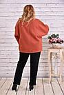 Кашемировое пальто женское укороченное терракотовое большой размер 42-74. Т0640-1, фото 4