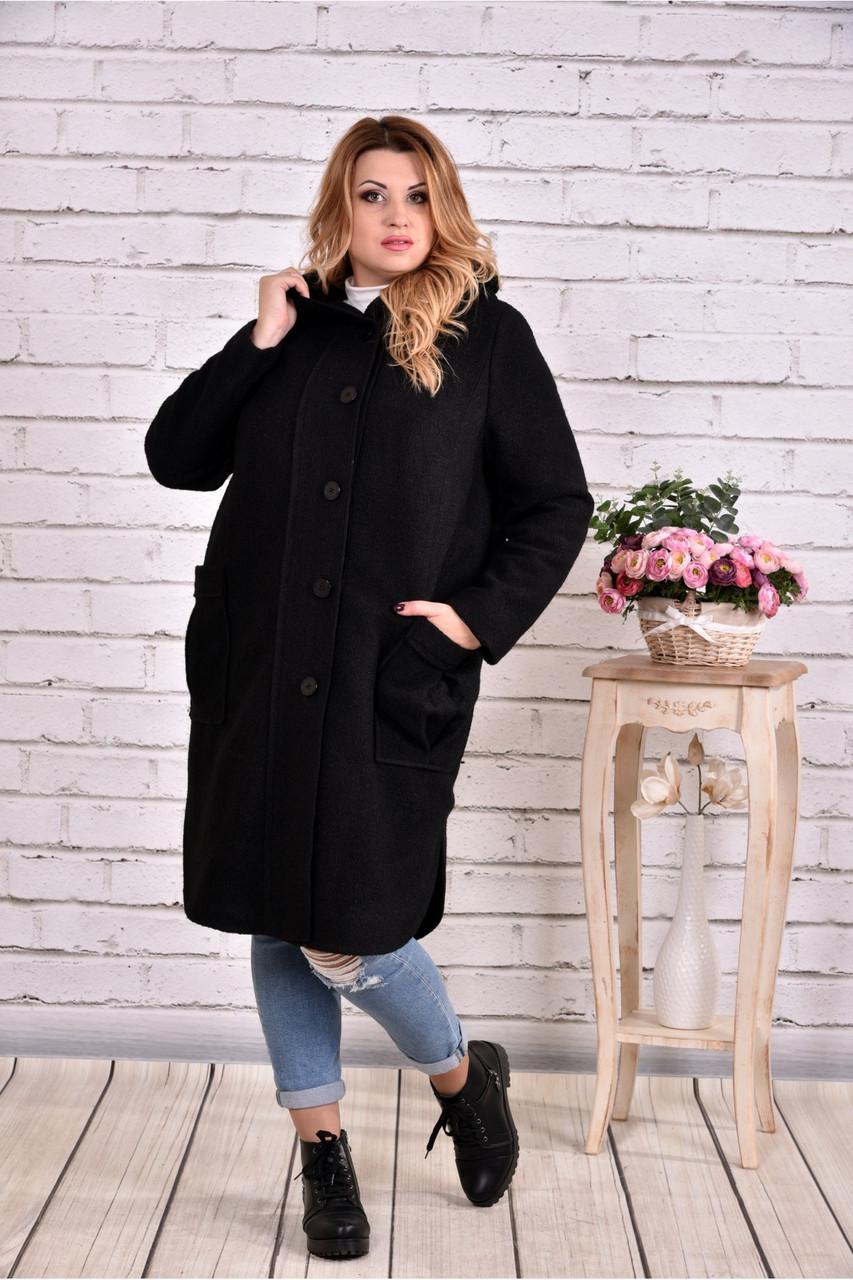 Черное пальто женское модное из шерсти большой размер 42-74. Т0642-1