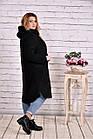 Черное пальто женское модное из шерсти большой размер 42-74. Т0642-1, фото 3