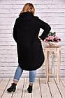 Черное пальто женское модное из шерсти большой размер 42-74. Т0642-1, фото 4