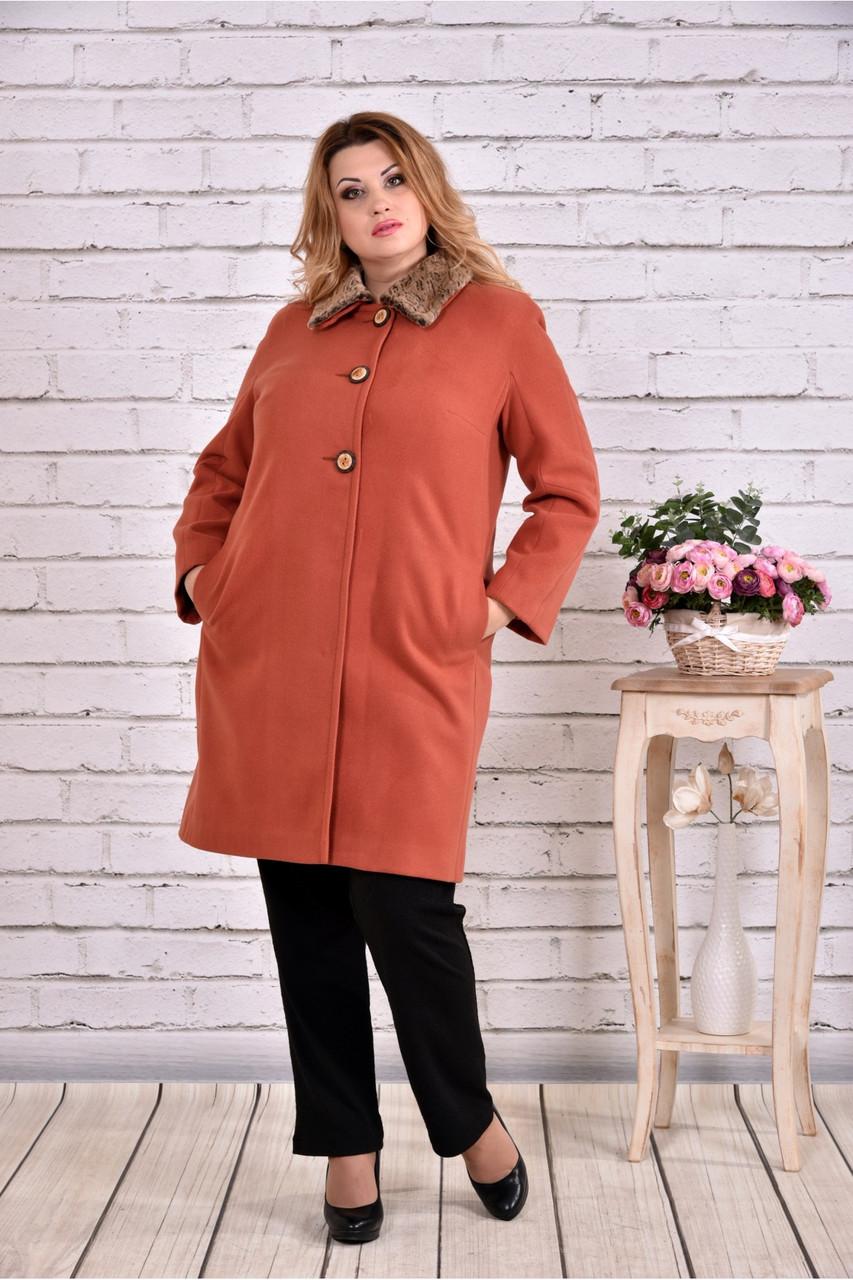 Утепленное пальто женское классическое терракот до -15 градусов большой размер 42-74. Т0647-1