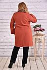 Утепленное пальто женское классическое терракот до -15 градусов большой размер 42-74. Т0647-1, фото 4