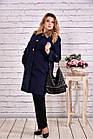 Тепле пальто жіноче з коміром стильне синього кольору до -15 градусів великого розміру 42-74. Т0647-2, фото 2