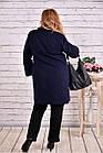 Тепле пальто жіноче з коміром стильне синього кольору до -15 градусів великого розміру 42-74. Т0647-2, фото 4