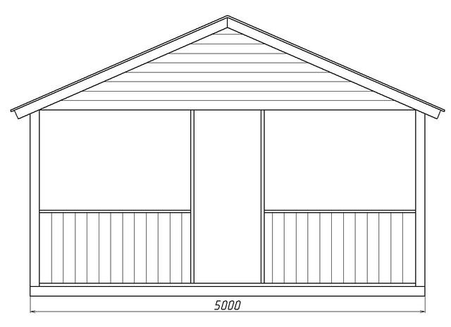 Деревянный павильон размером 5,0х8,0 м