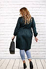 Плащ женский зеленый стильный из мемори большого размера 42-74 . 0726-2, фото 4