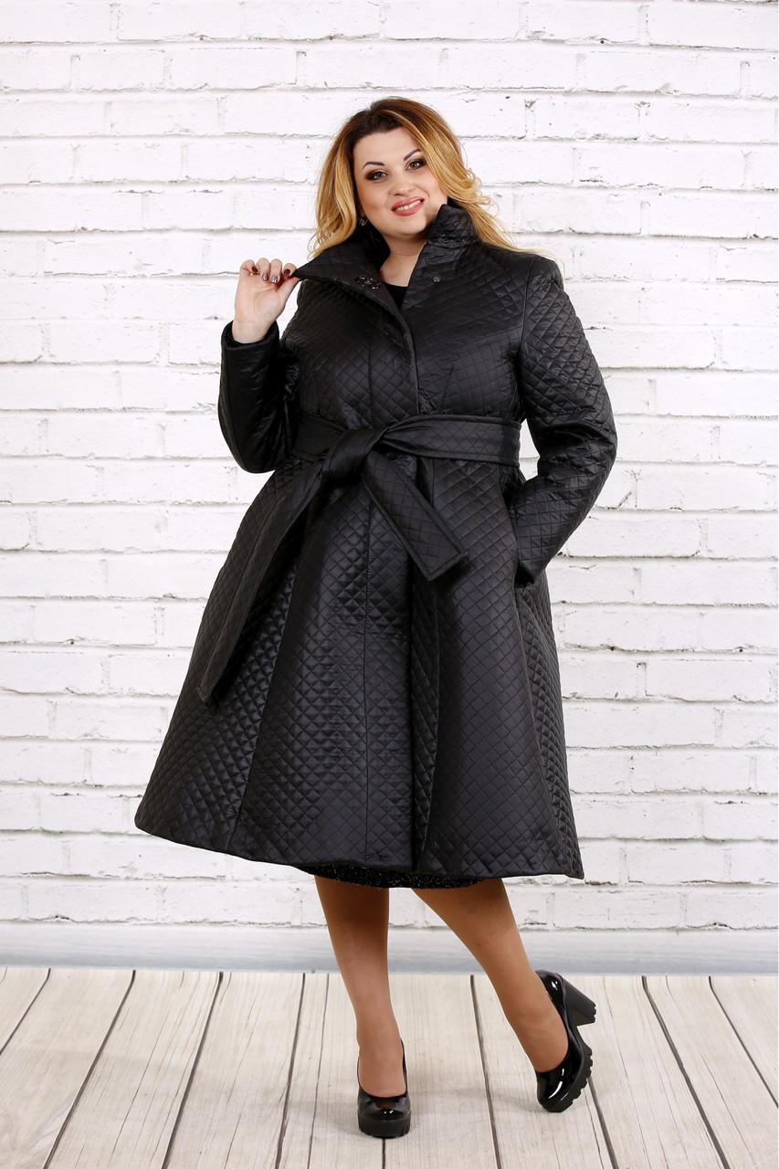 Черное пальто женское стеганое с поясом большого размера 42-74. Т0693-1