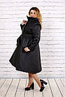 Черное пальто женское стеганое с поясом большого размера 42-74. Т0693-1, фото 2