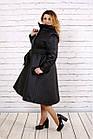 Чорне пальто жіноче стьобана з поясом великого розміру 42-74. Т0693-1, фото 2