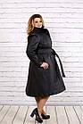 Черное пальто женское стеганое с поясом большого размера 42-74. Т0693-1, фото 3