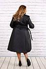 Черное пальто женское стеганое с поясом большого размера 42-74. Т0693-1, фото 4