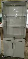 Шкаф (витрина) со стеклянными дверцами, подсветкой и ящиками. Модель V348 цвет белый, фото 1
