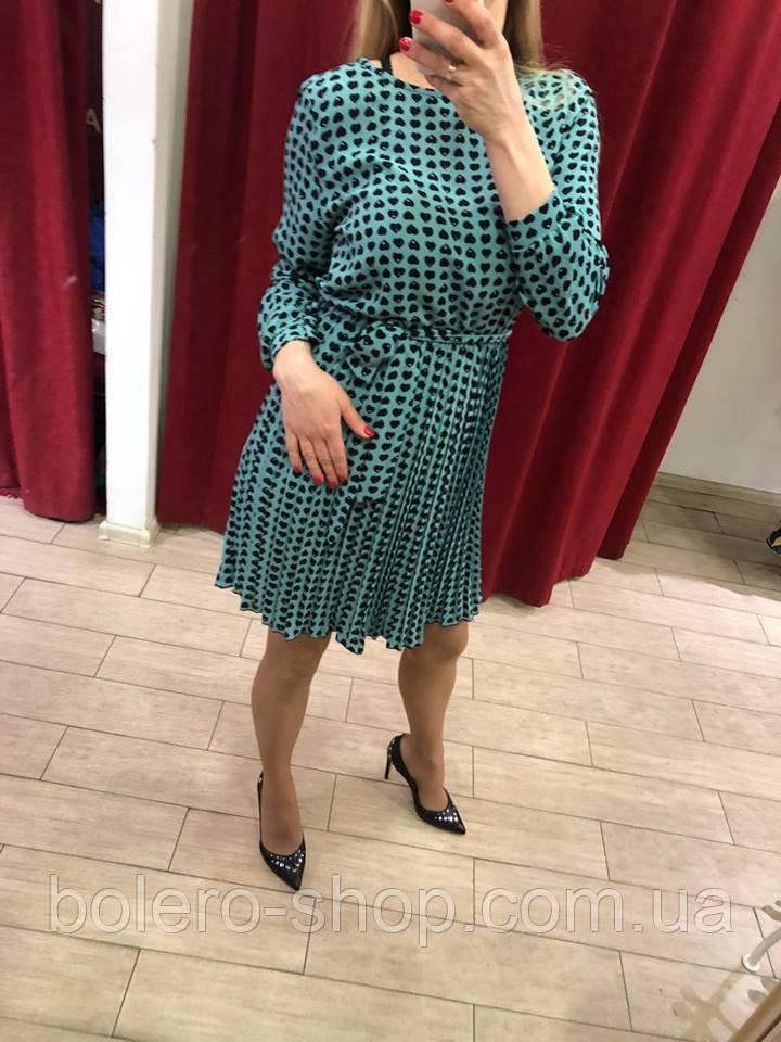 Женское платье Италия голубое с сердечками