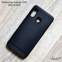 TPU чехол Carbon Line для Samsung Galaxy A30 (SM-A305) (черный)