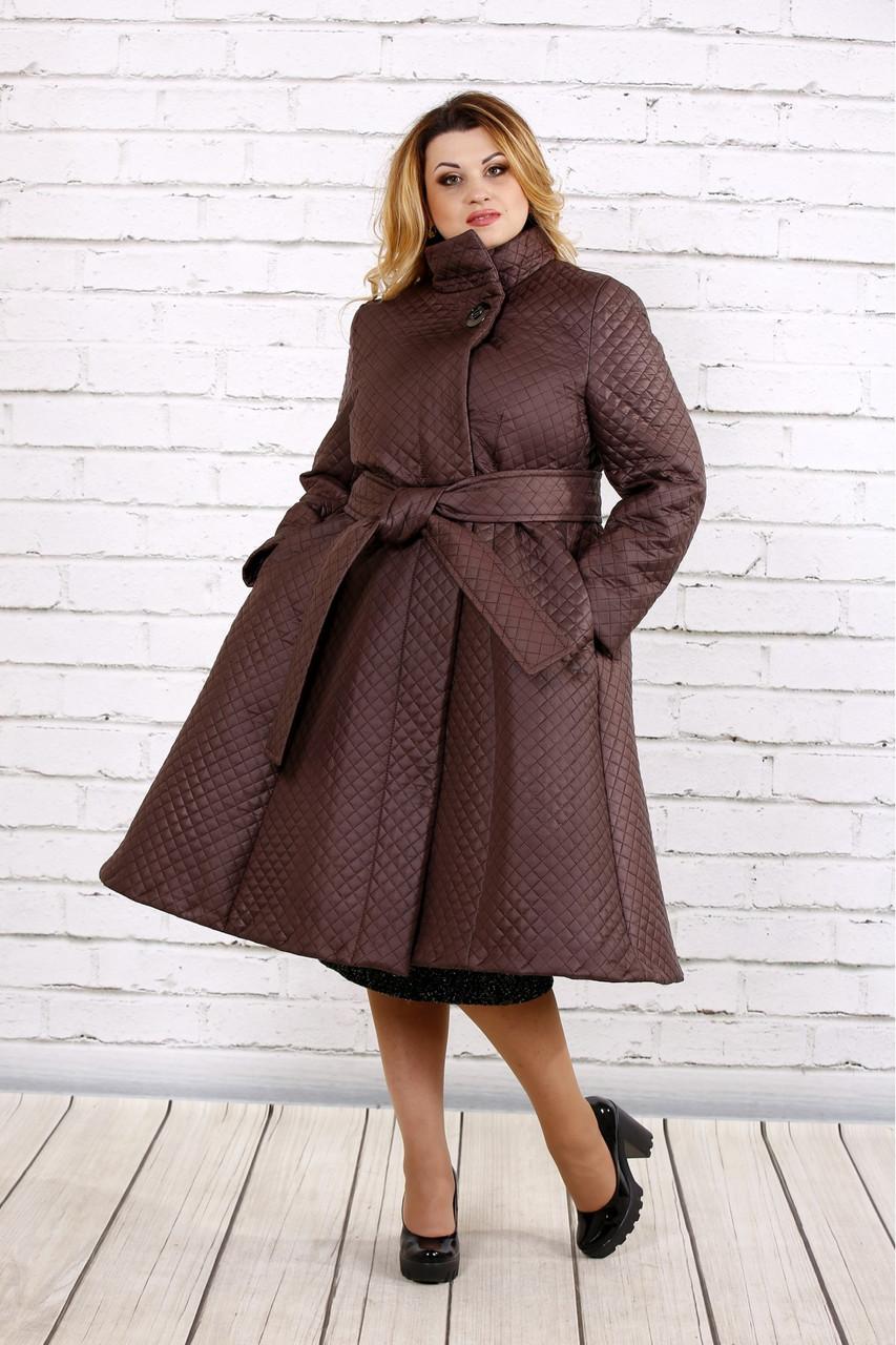 Коричневое стеганное пальто женское расклешенное большой размер 42-74. Т0693-2