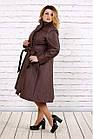 Коричневое стеганное пальто женское расклешенное большой размер 42-74. Т0693-2, фото 2
