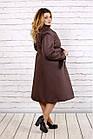 Коричневое стеганное пальто женское расклешенное большой размер 42-74. Т0693-2, фото 3