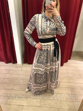 Женское платье Италия бежевое макси, фото 2