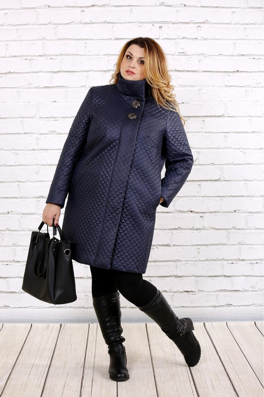 Синє пальто жіноче демісезонне вкорочене великий розмір 42-74 Т0724-3