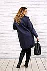 Синє пальто жіноче демісезонне вкорочене великий розмір 42-74 Т0724-3, фото 4