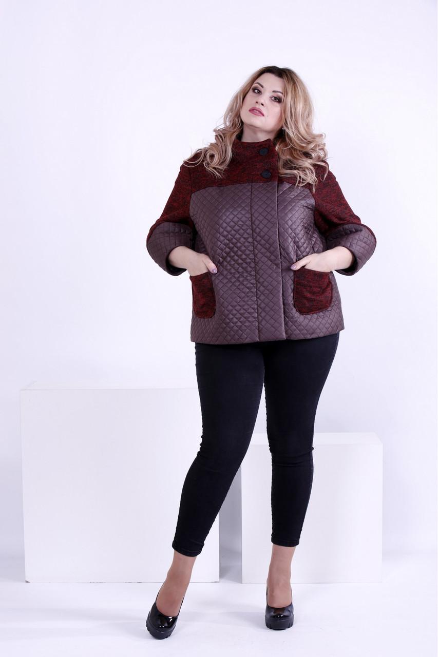 Бордовая куртка женская короткая с карманами и капюшоном большого размера 42-74. Т0875-2