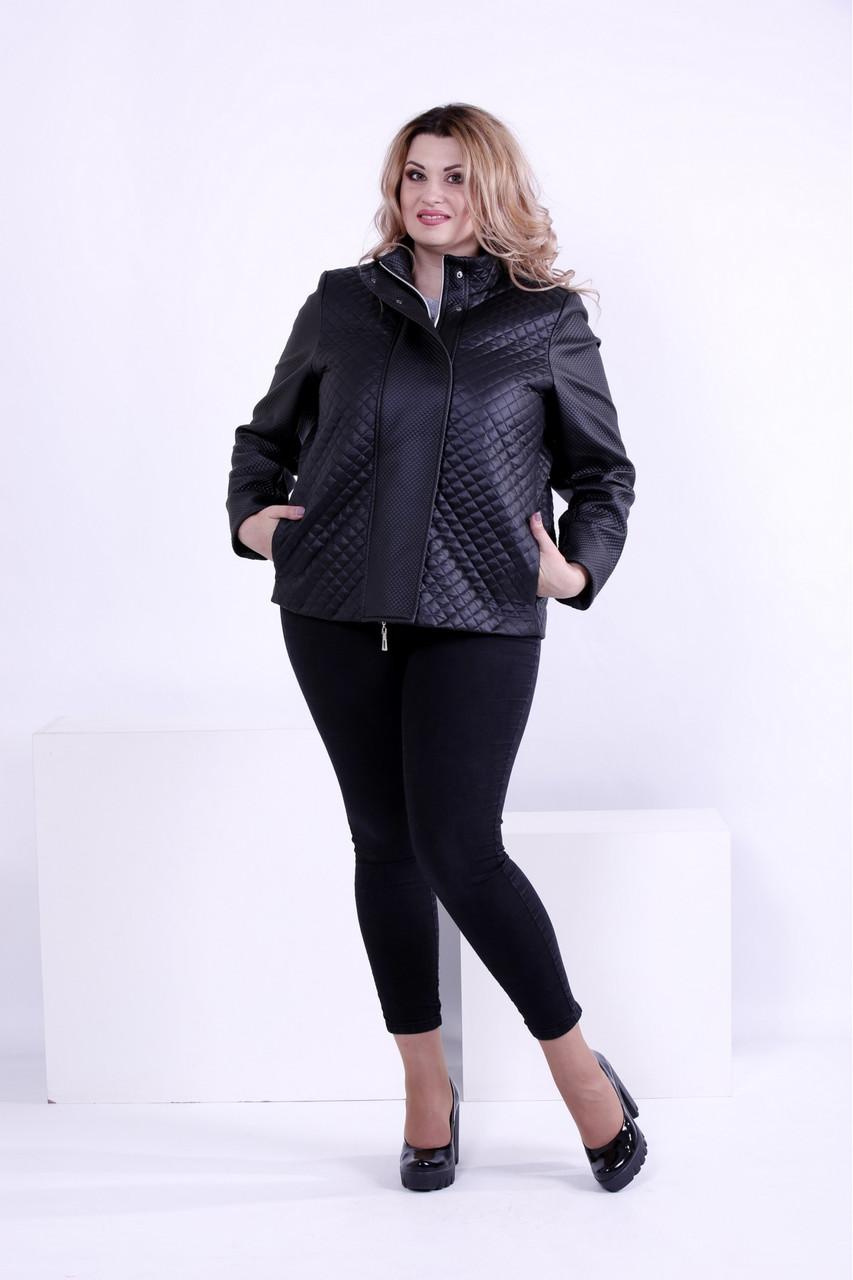 Черная стильная куртка женская короткая со вставками из эко-кожи большого размера 42-74. Т0877-1