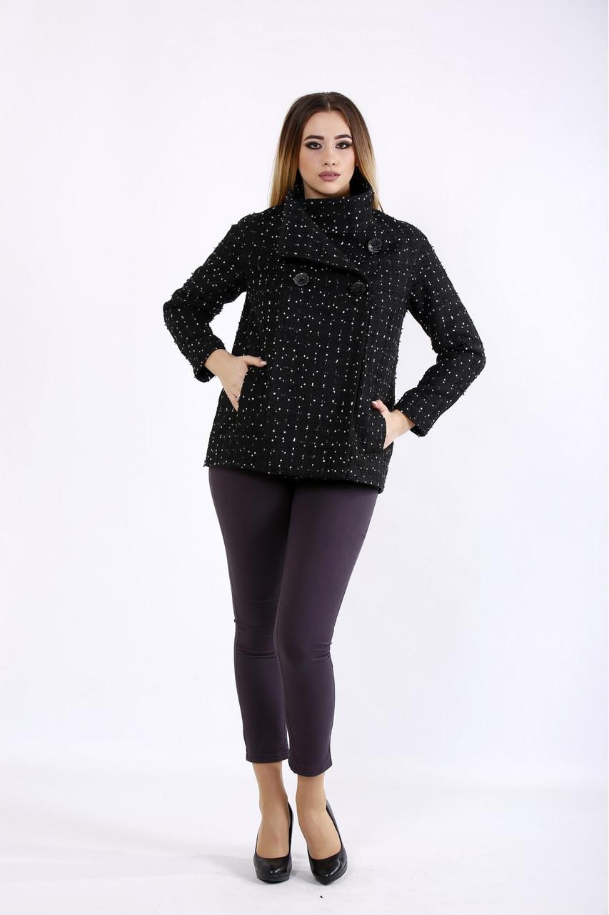 Чорне пальто жіноче коротке з точкою великий розмір 42-74. T01089-1
