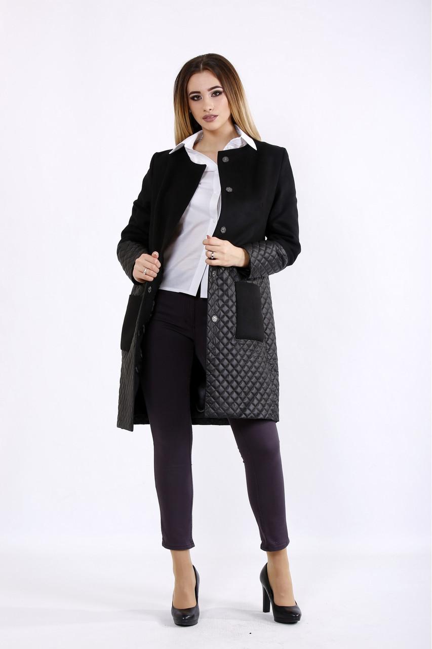 Комбинированное черное пальто женское демисезонное большой размер 42-74. T01090-1