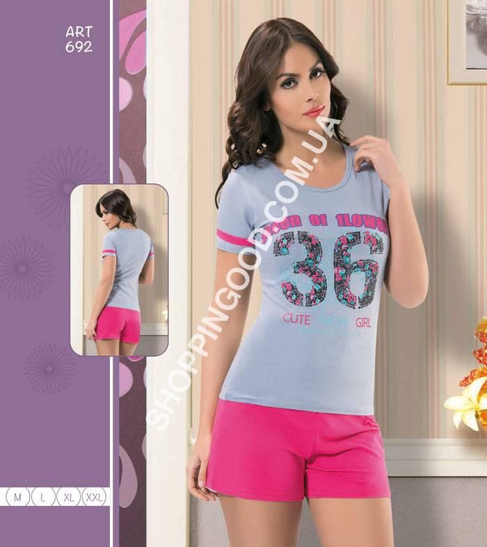 b27f771df2bd Женская пижама, домашний костюм футболка и шорты Maranda 692 ...
