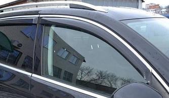 Дефлекторы окон (ветровики) Пежо 3008 (Peugeot 3008) с 2009 г (5-ти дверный, хром-молдинг)