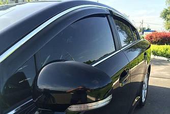 Дефлекторы окон (ветровики) Форд Мондео (Ford Mondeo) 2007-2014 г (седан, хром-молдинг)