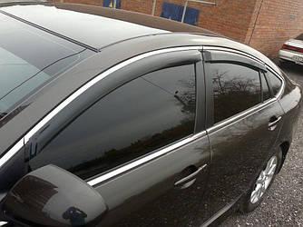 Дефлекторы окон (ветровики) Форд Мондео (Ford Mondeo) с 2014 г (седан, хром-молдинг)