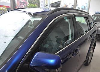 Дефлекторы окон (ветровики) Пежо 508 (Peugeot 508) с 2011 г (хром-молдинг)